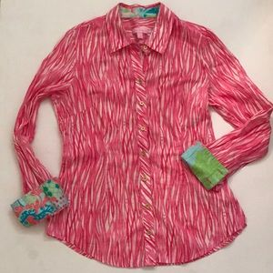 Lilly Pulitzer Pink Coral Tiny Fishes Long Sleeve